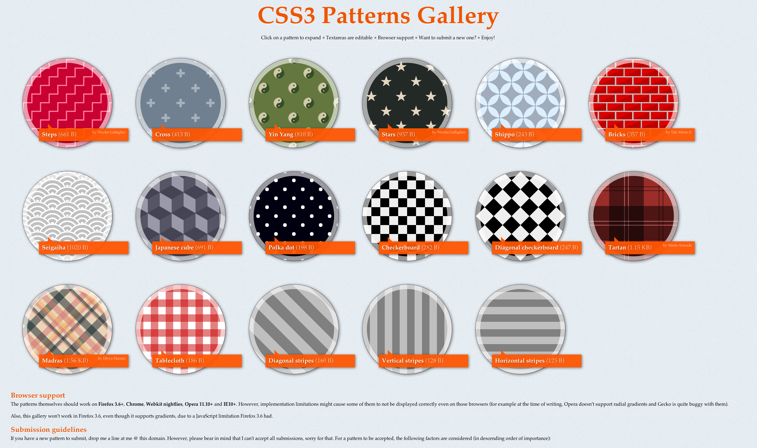 Background image o linear gradient - More Css3 Patterns