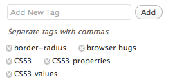 Screenshot of WordPress' tagging UI