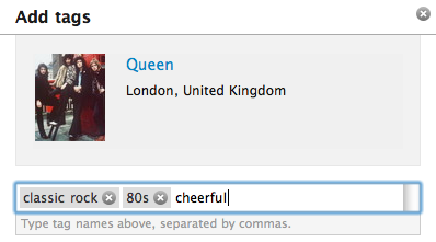Screenshot of last.fm's tagging UI
