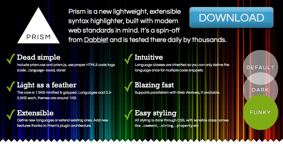 Prism:轻量级的 Javascript 代码高亮库