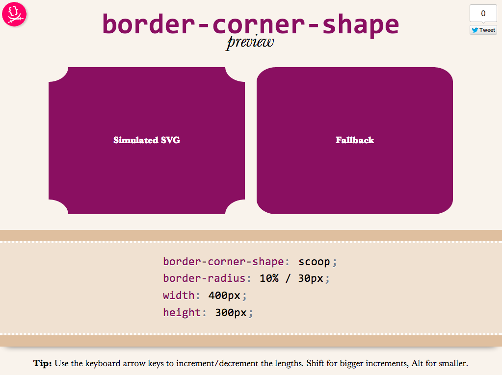 corner-shape preview
